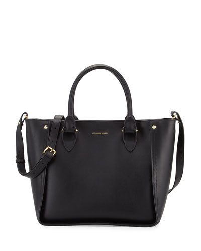 Inside Out Leather Shopper Tote Bag, Black