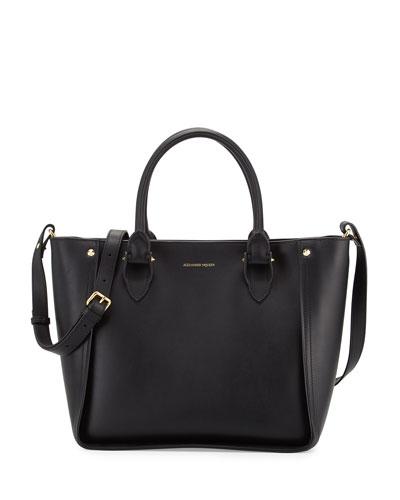 Inside Out Leather Shopper Tote Bag, Black