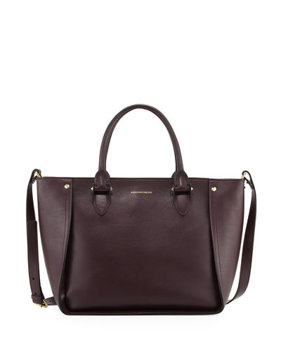 Inside Out Leather Shopper Tote Bag, Purple