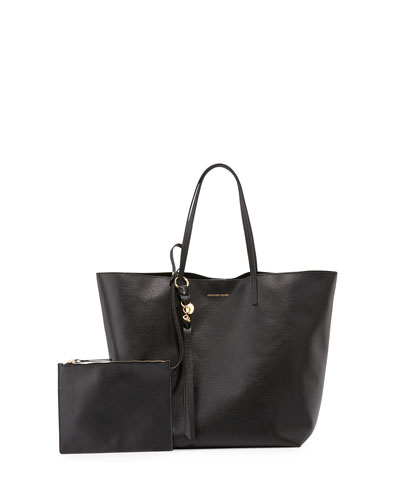 Skull Open Leather Shopper Tote Bag, Black