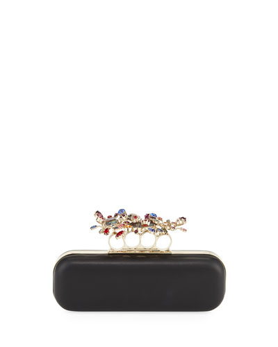 Knuckle Stone Clutch Bag, Black