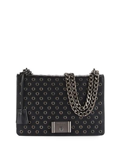 Grommet Chain Leather Shoulder Bag, Black (Nero)