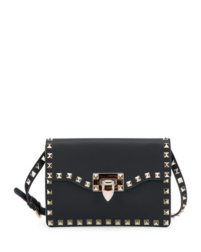Small Rockstud Flap Crossbody Bag, Black