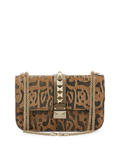 Medium Cavallino Lock Shoulder Bag, Leopard