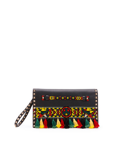 Medium Jamaican Rockstud Flap Clutch Bag, Black/Multi