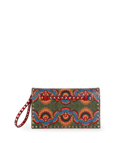 Medium Enchanted Wonderland Rockstud Clutch Bag, Red Multi