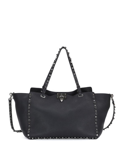 Rockstud Rolling Medium Leather Tote Bag, Black