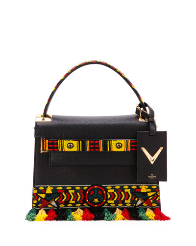My Rockstud Small Jamaican Top-Handle Satchel Bag, Black Multi