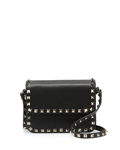 Rockstud Vitello Flap-Top Shoulder Bag, Black