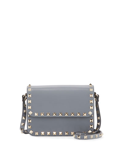 Rockstud Small Flap-Top Crossbody Bag, Gray