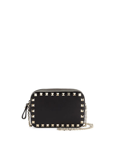 Small Rockstud Chain Camera Crossbody Bag, Black