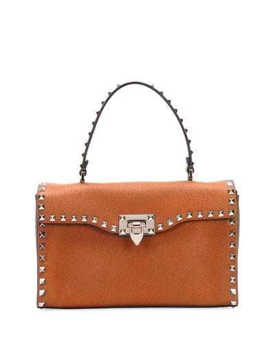 Rockstud Small Single-Handle Satchel Bag, Tan