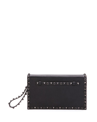 Rockstud Rolling Noir Medium Flap Clutch Bag, Black