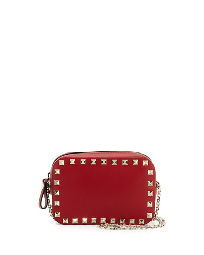 Small Rockstud Chain Camera Crossbody Bag, Red