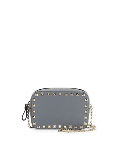 Small Rockstud Chain Camera Crossbody Bag, Light Gray