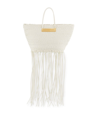 Tresse Small Woven Basket Tote Bag, White