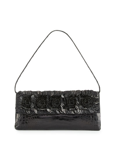 Floral Crocodile Flap Clutch Bag, Black Shiny