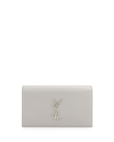 Monogram Leather Small Clutch Bag, Light Gray
