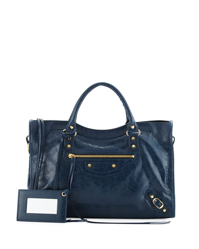 Classic Gold City Shoulder Bag, Navy (Bleu Obscur)
