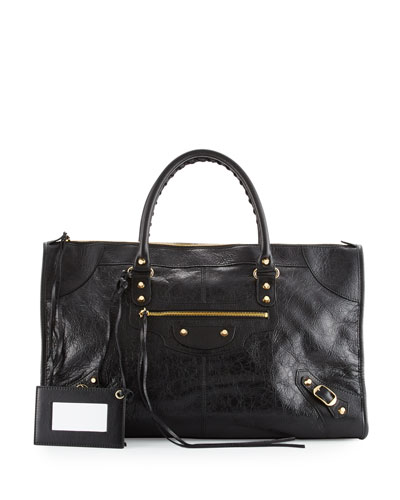 Classic Gold Work Tote Bag, Black