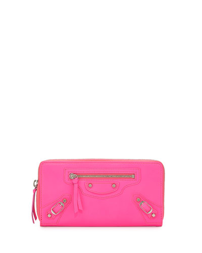 Classic Continental Zip-Around Wallet, Hot Pink