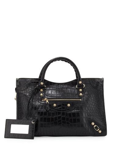 Giant 12 City Croc-Embossed Bag, Black