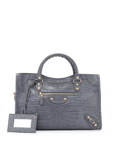 Giant 12 City Crocodile-Embossed Shoulder Bag, Gray