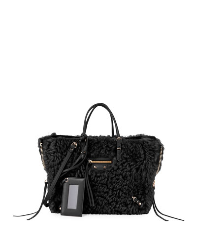 Papier A6 AJ Zip-Around Shearling Fur Tote Bag, Black