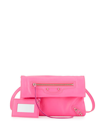 Classic Nickel Mini Envelope Crossbody Bag, Hot Pink