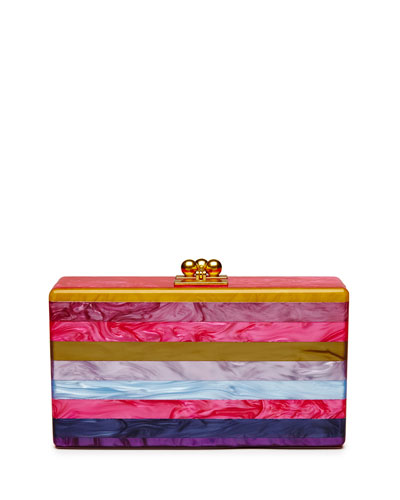 Jean Striped Acrylic Clutch Bag, Fuchsia Multi