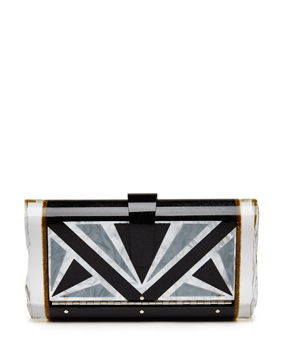 Lara Empire Geometric Clutch Bag, Obsidian Multi