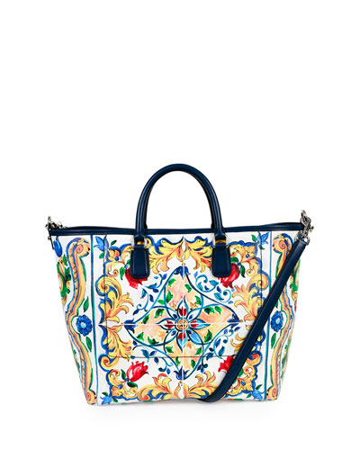 St. Maioliche Tile Shopper Tote Bag, Multicolor