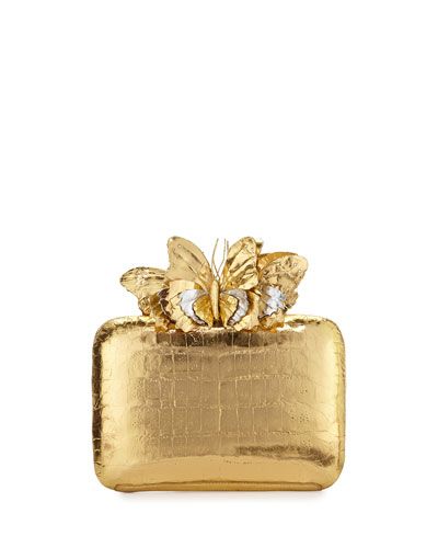 Butterfly Crocodile Box Clutch Bag, Gold Mirror