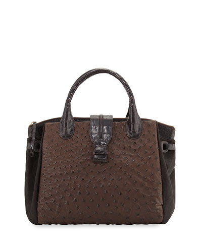 Cristina Large Ostrich Tote Bag, Brown