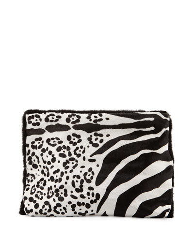 Calf-Hair Medium Fold-Over Clutch Bag, Black/White