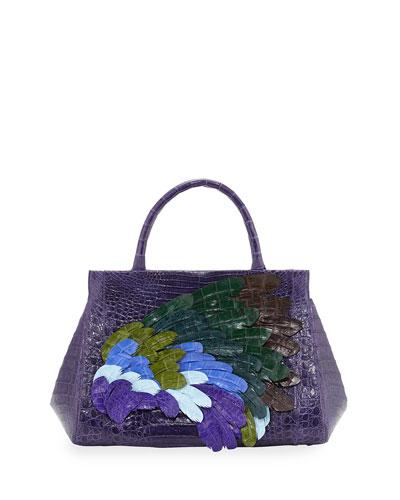Daisy Medium Feather Crocodile Satchel Bag, Purple/Multi