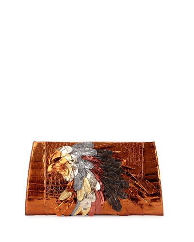 Feather Crocodile Large Slicer Clutch Bag, Bronze/Multi