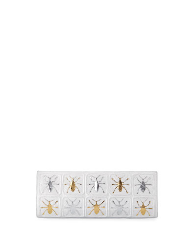 Scarab Crocodile Razor Clutch Bag, White/Multi