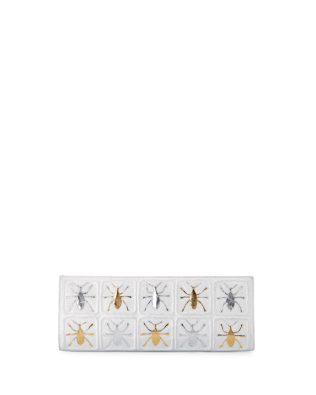 Scarab Crocodile Razor Clutch Bag, White/Multi
