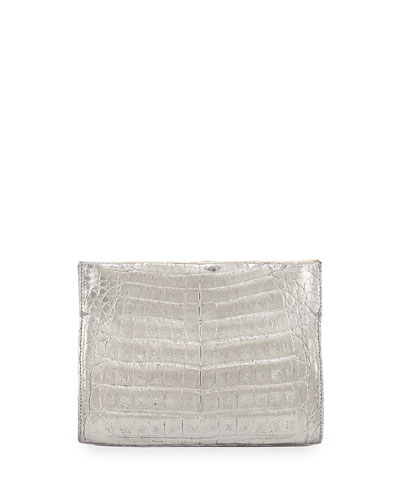 Crocodile Small Clutch Bag, Gold/Anthracite