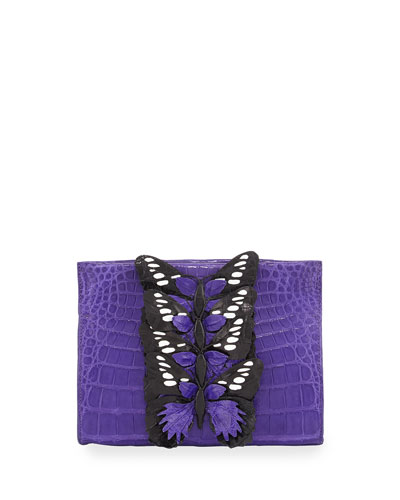 Butterfly Crocodile Small Clutch Bag, Purple/Multi