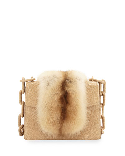 Sable/Crocodile Small Chain-Strap Shoulder Bag, Camel
