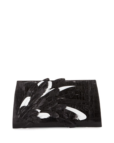 Feather Crocodile Small Slicer Clutch Bag, Black/White