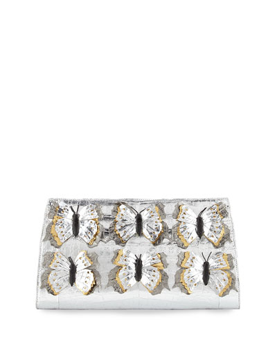 Butterfly Crocodile Small Slicer Clutch Bag, Silver/Multi