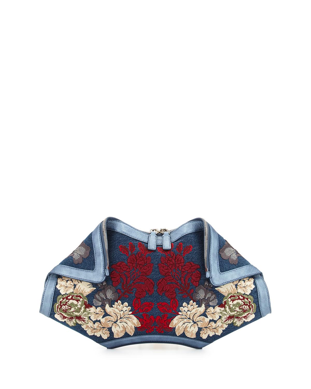 De-Manta Floral Embroidered Denim Clutch Bag