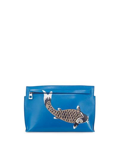 Pesce Medium T Pouch Bag, Blue