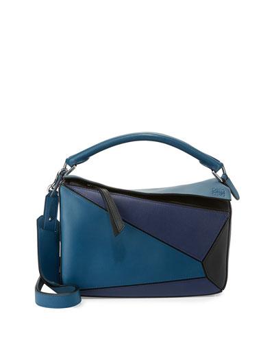 Puzzle Colorblock Leather Satchel Bag, Navy/Black