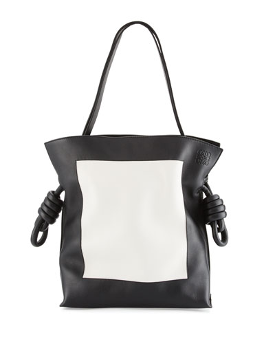 Flamenco Knot Shoulder Bag, Black/White