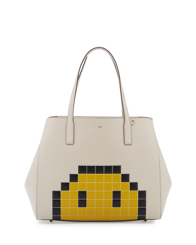 Ebury Pixel Simley Shopper Tote Bag, White