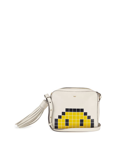 Pixel Smiley Leather Crossbody Bag, White